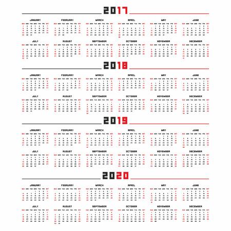 カレンダー、2017 年 2018 2019、2020