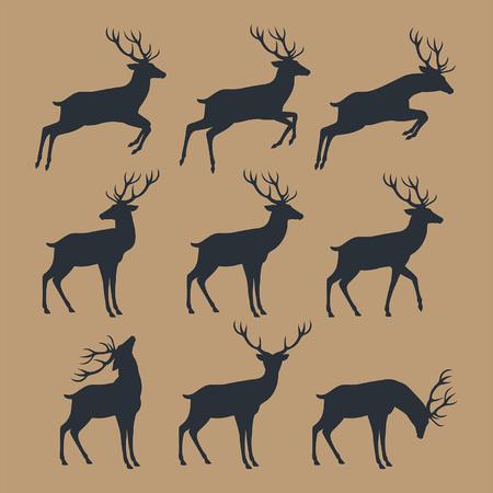 branch cut: Deer silhouette set