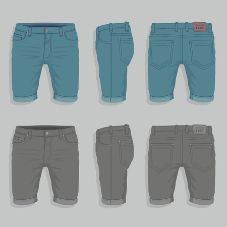 short: Men Denim Shorts Illustration