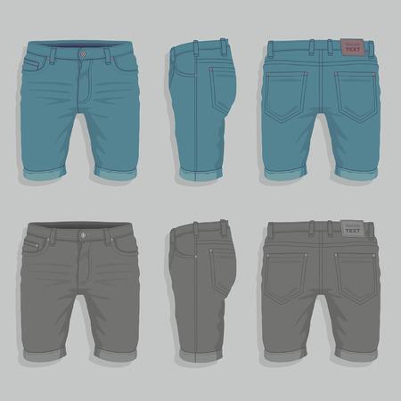 denim shorts: Men Denim Shorts Illustration