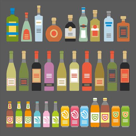 bebidas alcohÓlicas: Iconos planos Bebidas Alcohólicas
