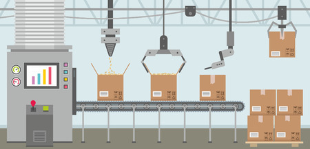 assembly line: Conveyor system in flat design Illustration