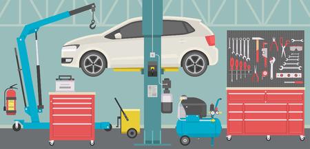 Interior of a car repair shop Stock Illustratie