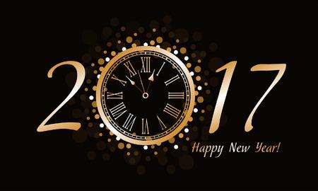 Anno nuovo orologio 2017 Vettoriali