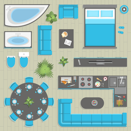 stove top: furniture top view Illustration