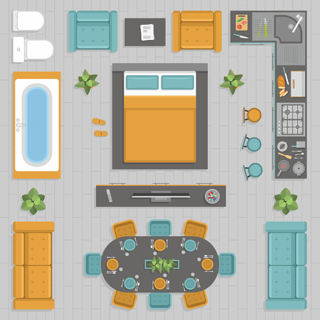 furniture top view  イラスト・ベクター素材