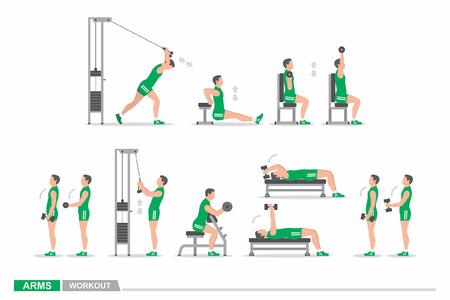 Set of workout for arms Illustration