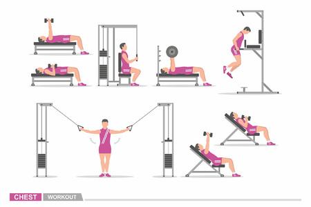 Set of workout for chest Illustration