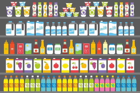Shelves with Products and Drinks Illustration