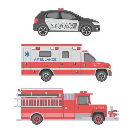 reanimation: Police, Ambulance car and Fire truck