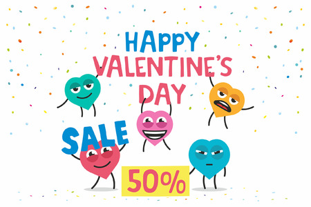 valentines day sale. happy hearts