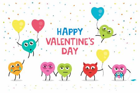 alegria: tarjeta de felicitación divertida del día de San Valentín feliz Vectores
