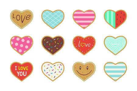 Set of valentine heart shaped cookies Illustration