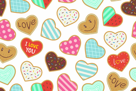 shaped: Heart shaped cookies seamless pattern