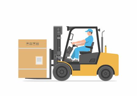 lifter: Man driving a forklift Illustration