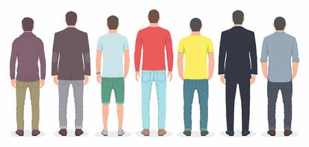 men back: Group of men from back Illustration