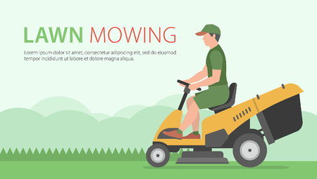 mow: Man mowing the lawn with yellow Tractor LawnMower