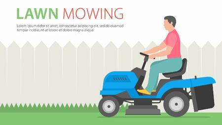 Homme tondant la pelouse avec le bleu Tractor LawnMower