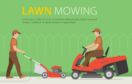 mow: Man mowing the lawn with red lawn mower