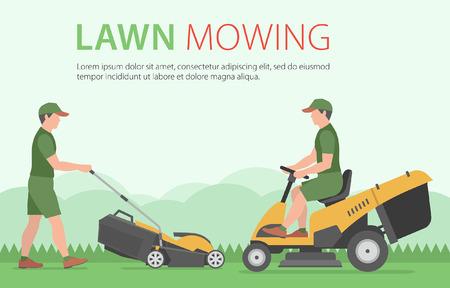 黄色の芝刈機で芝生を刈る男