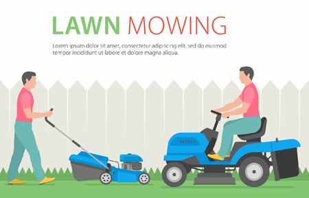 푸른 잔디 깎는 기계로 잔디를 깎고 남자