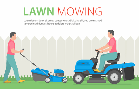 Homme tondant la pelouse avec tondeuse à gazon bleu