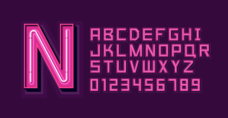 Roze neonlicht alfabet lettertype