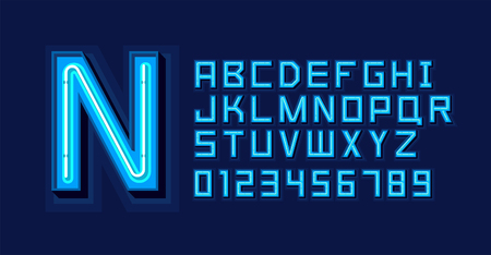 Blauw Neonlicht Alfabet Lettertype