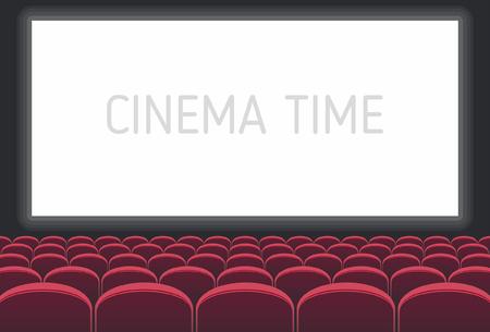 Bioscoop met wit scherm en rode stoelen