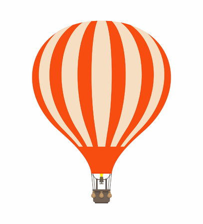 Air balloon in cartoon illustration stripe orange color, isolated on white Vectores