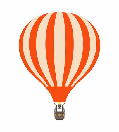 Air balloon in cartoon illustration stripe orange color, isolated on white Vettoriali