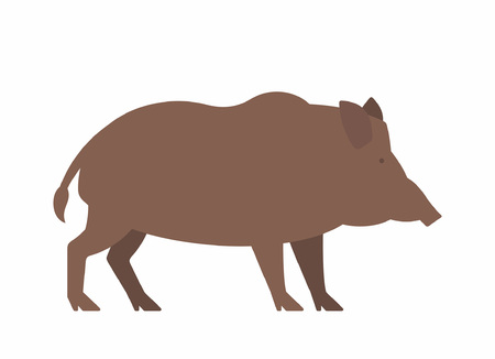 Wild boar animal in silhouette cartoon drawing isolated on white