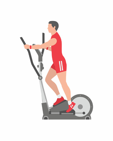 Man running on elliptical machine Ilustracja