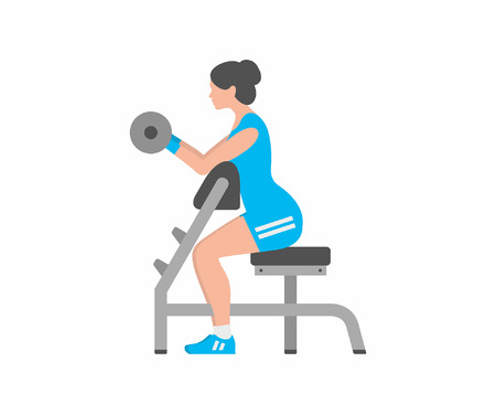 Woman lifting up barbells, doing biceps exercise Illustration