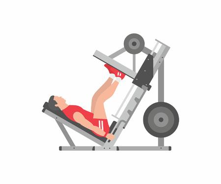 Hombre, hacer, pierna, prensas
