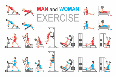 Man and Woman exercise 版權商用圖片 - 85563974