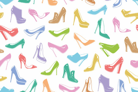 Womans shoes seamless pattern Çizim