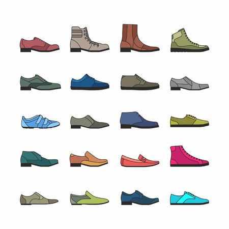 흰색 배경에서 격리하는 다채로운 신발 세트