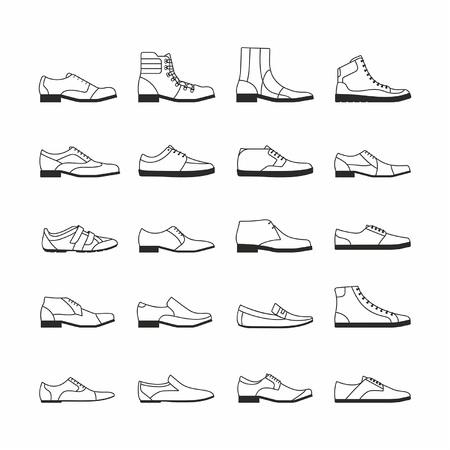 흰색 배경에서 격리하는 신발 세트