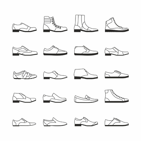 Set of shoes isolated from white background