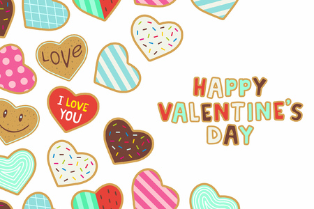 Happy Valentine's day. background with heart shaped cookies