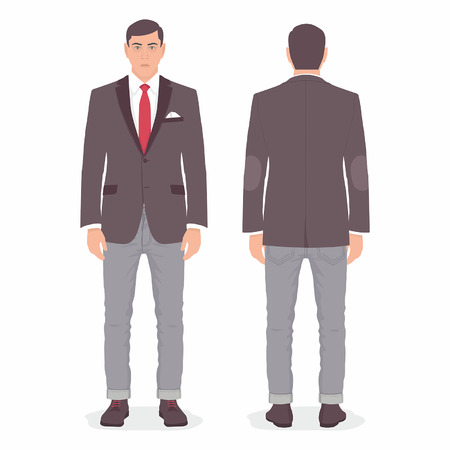 front and back view of young man standing isolated on white background Illustration