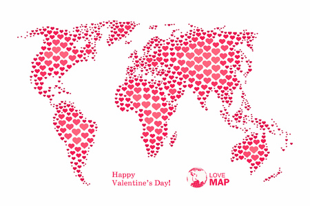 Love, world map with pink hearts, vector background.