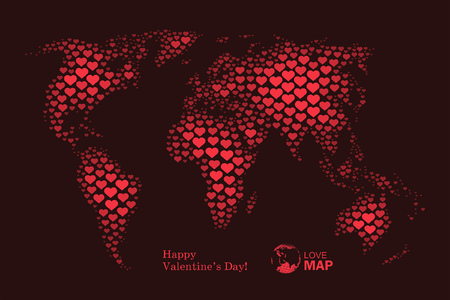 Love world map with pink hearts vector background ilustraciones love world map with red hearts vector background gumiabroncs Images
