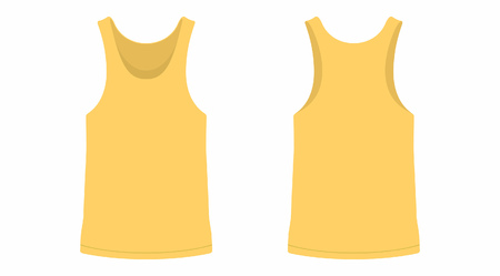 Front and back views of mens yellow t-shirt on white background.