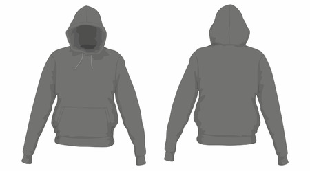 Men's black hoodie. Front and back views on white background