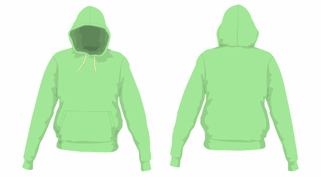 Mens green hoodie. Front and back views on white background