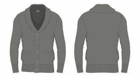 Mens black cardigan. Front and back views on white background