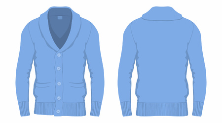 Mens blue cardigan, front and back views on white background.