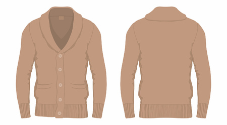 Men's brown cardigan. Front and back views on white background
